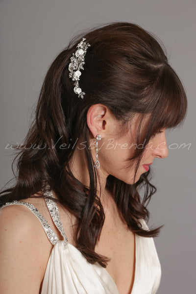 Pearl, Rhinestone and Porcelain Flower Headpiece - Carolina
