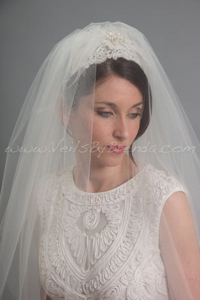 Lace Juliet Cap and Blusher with Detachable Long Tulle Bridal Veil