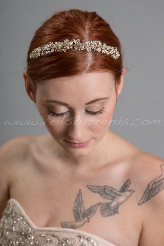 Gold Headband with Fresh Water Pearls and Rhinestones - Charlotte