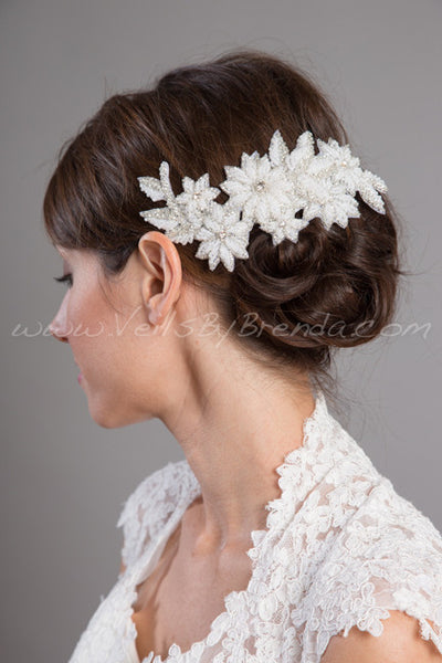 Bridal Hair Clip, Beaded Flower Headpiece - Corina