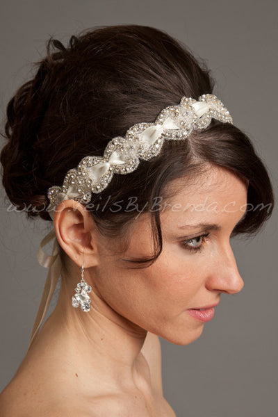 Crystal Rhinestone with Smocked Satin Ribbon Headband - Lexi