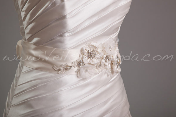 Silk Flowers and Lace Dress Sash - Desiree