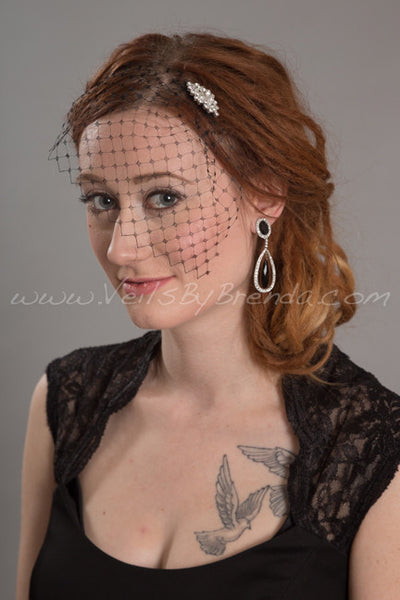 Black French Net Mini Bridal Birdcage Veil with Bridal Rhinestone Comb