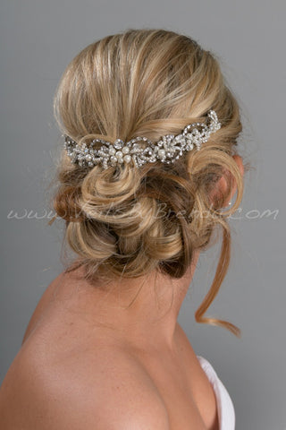 Pearl and Rhinestone Bridal Hair Swag - KONCHESSA