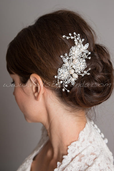 Ivory Pearl and Rhinestone Hair Comb - Lilianna