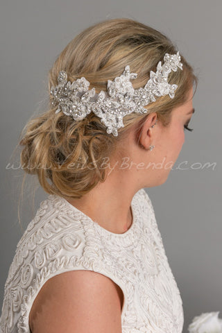 Wedding Hair Vine, Bridal Lace Headpiece - Lizette