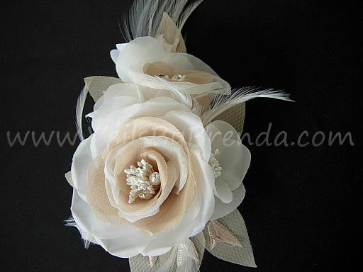 Ivory Blusher Veil Double Rhinestone Edge, Detachable Ivory And Champagne Flower Fascinator - MissHill