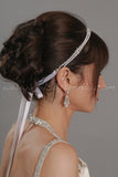 Pearl Headband with Swarovski Crystal Rhinestone Accents - Monique
