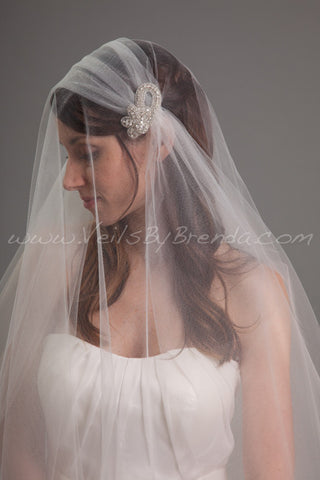 Juliet Cap Veil, 2 Piece Detachable Rhinestone Hair Clips, 2 Layer Cap Veil - Monshell