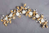 Gold and Ivory Bridal Headpiece - Nena