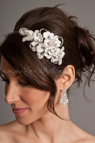 Porcelain Flowers and Lace Bridal Headpiece - Odessa
