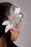Crystal Rhinestone Beaded Flower with Vintage Velvet Leaves - Phoenix
