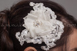 Lace and Silk Flower Bridal Headpiece - Presley