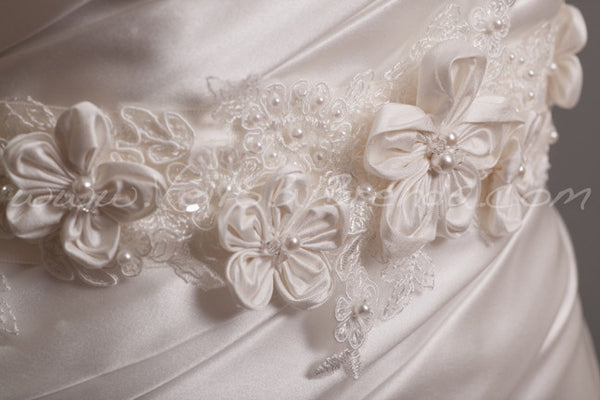 Flowers and Pearl Alencon Lace Wedding Sash - Primrose