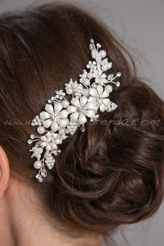 Enameled Flowers Hair Comb - Rebecca