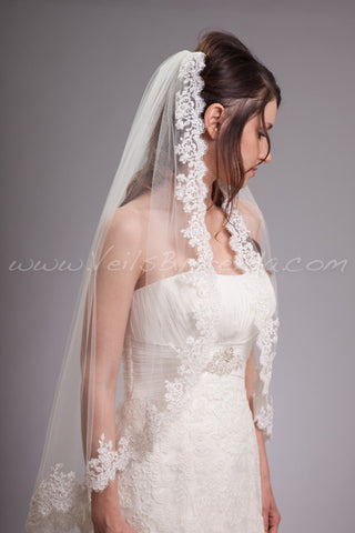 Ivory Beaded Alencon Lace Bridal Veil - Selma