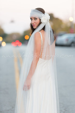 Bridal Veil Set, Tulle Head Wrap and Tails with Silk Flower Headpiece
