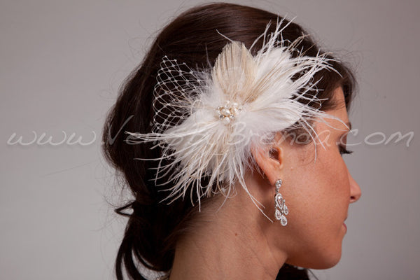 Champagne Peacock Eye Hair Piece - Takoda