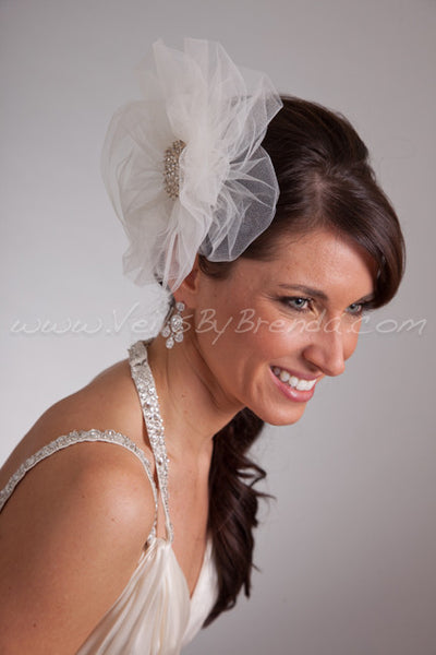 Illusion Tulle Bridal Pouf with Crystal Brooch - Dani