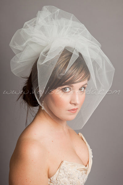 "Tulle 17"" Bridal Birdcage Veil with Detachable Tulle Pouf"
