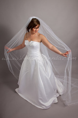 Illusion Tulle Veil Single Layer Satin Cord Edge - Diana