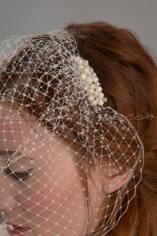 Birdcage Veil with Fresh Water Pearl Cluster