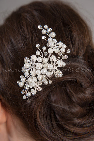 Pearl and Rhinestone Wedding Headpiece - Whitney