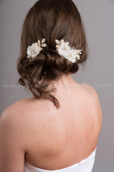 Ivory and Gold Bridal Hair Comb with Freshwater Pearls and Rhinestones - Winona