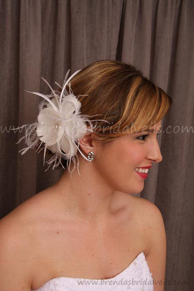 Wedge Bridal Veil with Feather Flower Hannah