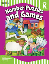 Workbook: Number Puzzles and Games  (Pre K) - EyeSeeMe African American Children's Bookstore
