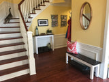 Entry way bench with storage shelf