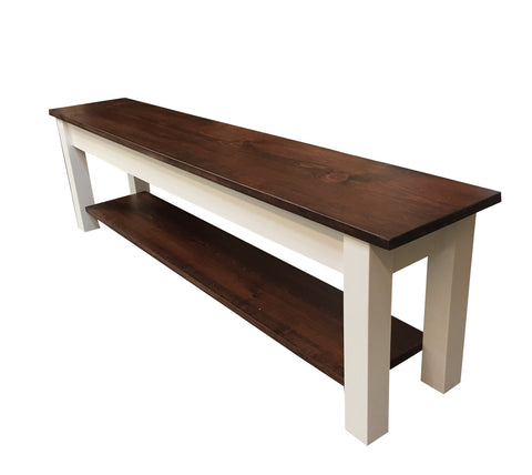 1776 Farmhouse Bench with Shelf / Shoe rack / Storage Bench