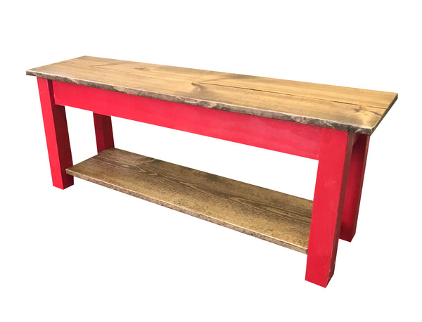 Stupendous Light Walnut And Barn Red Storage Bench Gmtry Best Dining Table And Chair Ideas Images Gmtryco