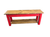 Light Walnut and Barn Red Storage Bench
