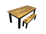 Rustic Barn wood and Black Farm Table Farmhouse Table 3