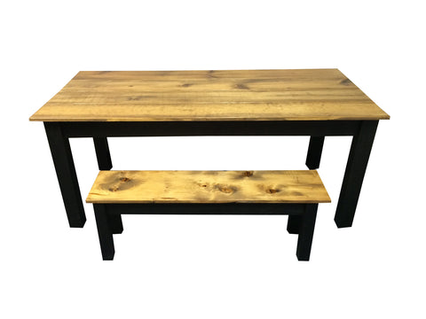 Rustic Barn wood and Black Farm Table Farmhouse Table