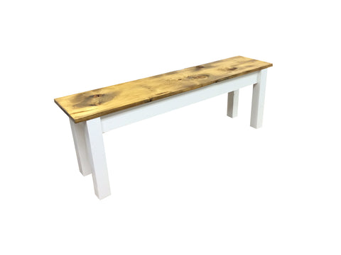 Barnwood & White Bench