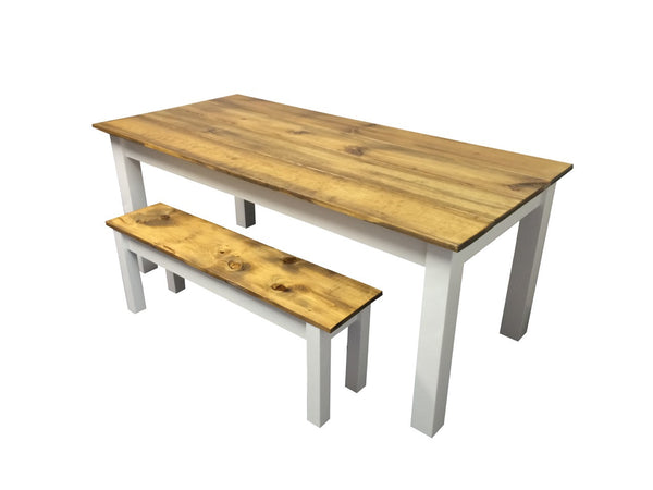 Rustic Barn wood and white Farm Table Farmhouse Table-3