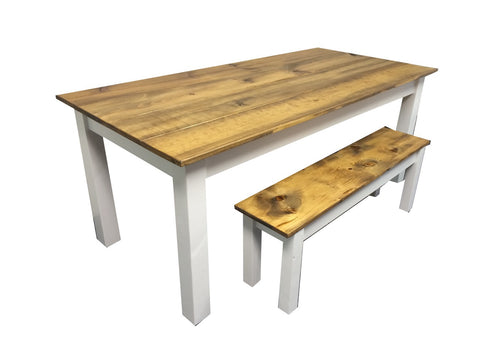 Rustic Barn wood and white Farm Table Farmhouse Table