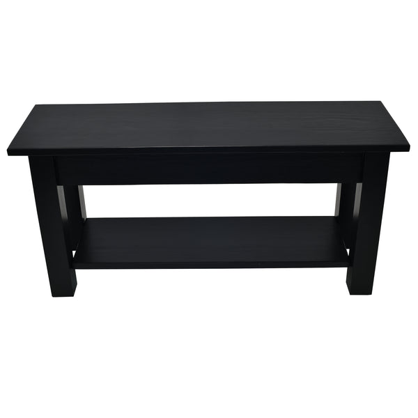 Black Farmhouse Shoe Rack Storage Bench