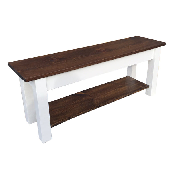 Colonial Harvest Bench with shoe rack Shelf