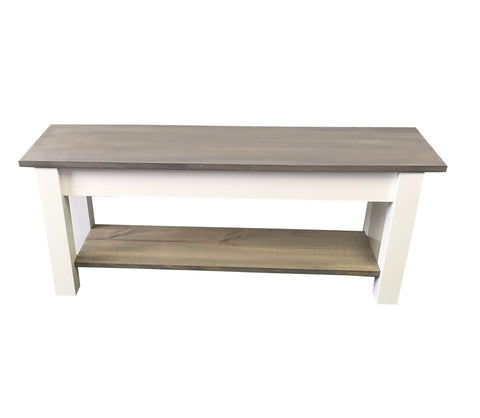 Cottage Storage Bench-shoe rack bench-Farmhouse Bench Farm Bench grey bench