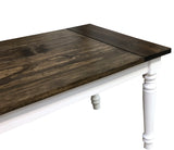 Dark Walnut and White English Farmhouse Table