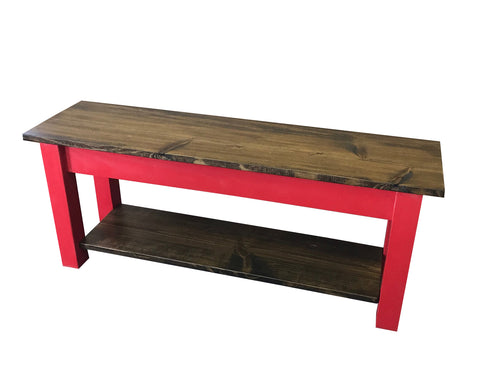 Dark Walnut and Barn Red Storage Bench