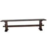 Dark walnut pedestal trestle bench