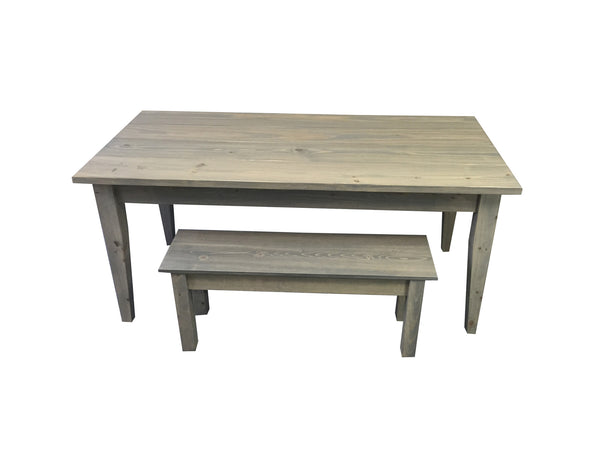 Grey Farmhouse Table With Tapered Legs Ezekiel And Stearns