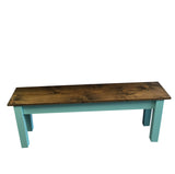 Vintage Blue Farmhouse Bench Shabby chick
