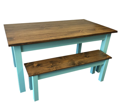 Vintage Blue Farmhouse Table