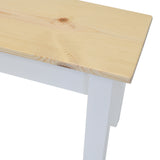 Nantucket Farmhouse Bench Pine wood Top white wood bench