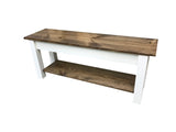 Olmsted Wood Bench with Shelf